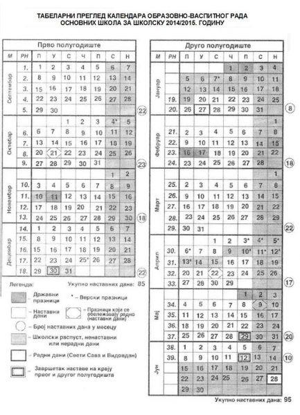Kalendar rada za školsku 2014/2015.godinu