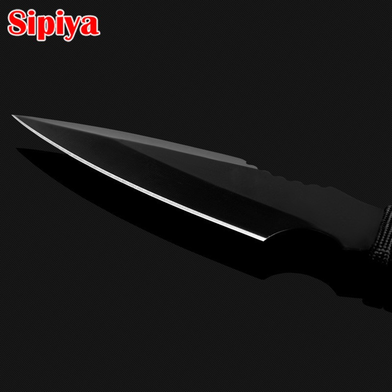 Фото Stainless Steel Hunting Knife Survival Knives Fixed Blade Diving Outdoor Camping Knife Silver/Black with Nylon Sheath
