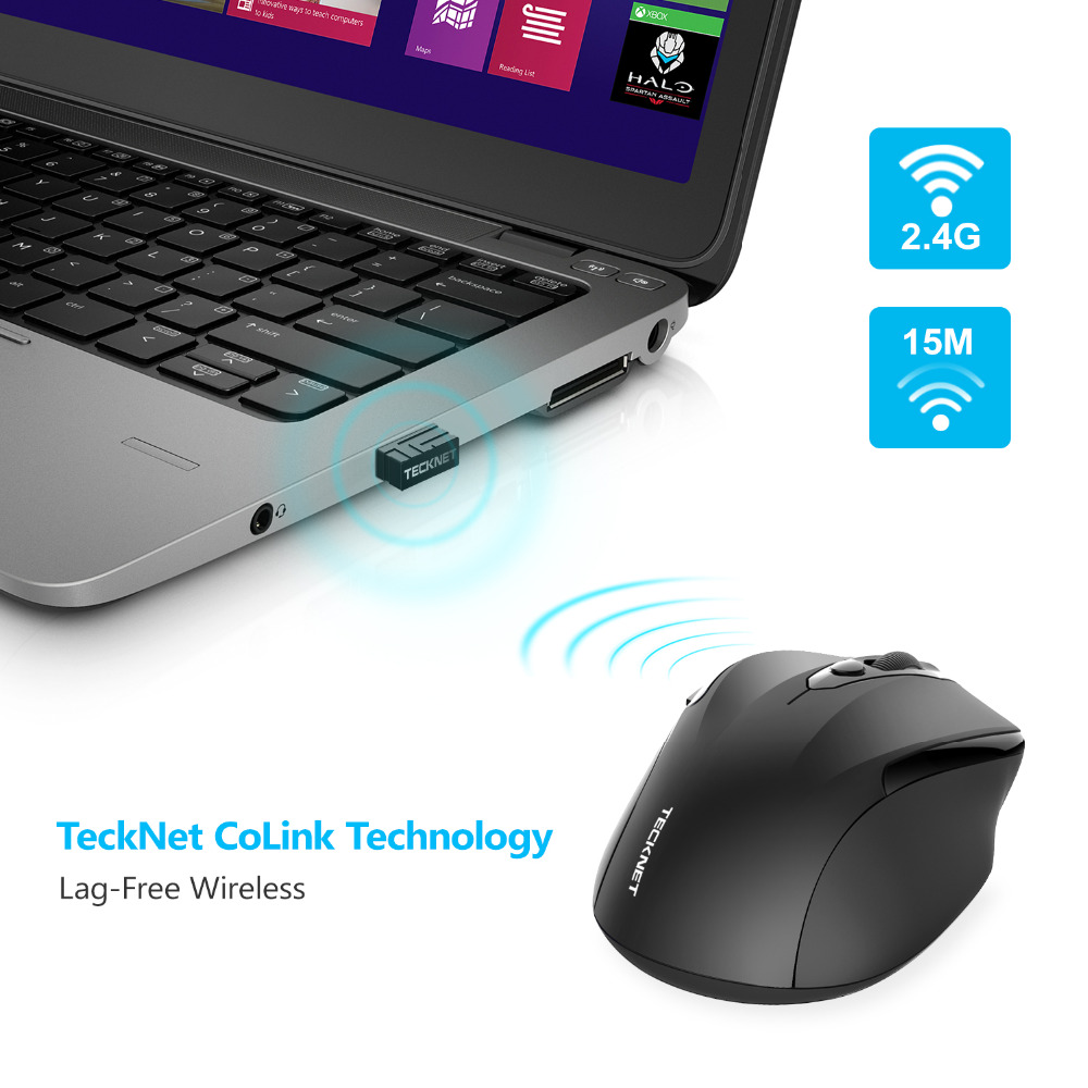 Фото TeckNet Pro 2.4GHz Wireless Mouse Nano Receiver Ergonomic Mice 6 Buttons 2400DPI 5 Adjustment Levels for Computer Laptop Desktop