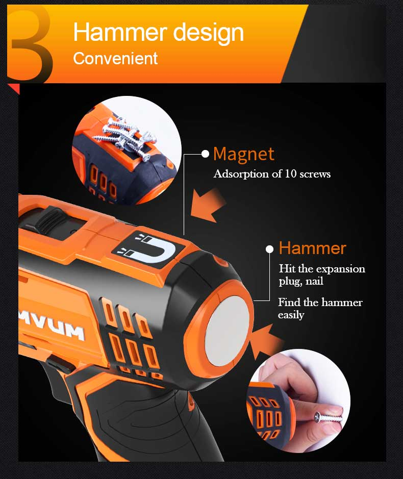 Фото LOMVUM New 12/16/25V Electric Drill Hammer Cordless Drills Lithium-Ion Battery Screw rotary tool Mini Magnetic DRILLING DRIVING