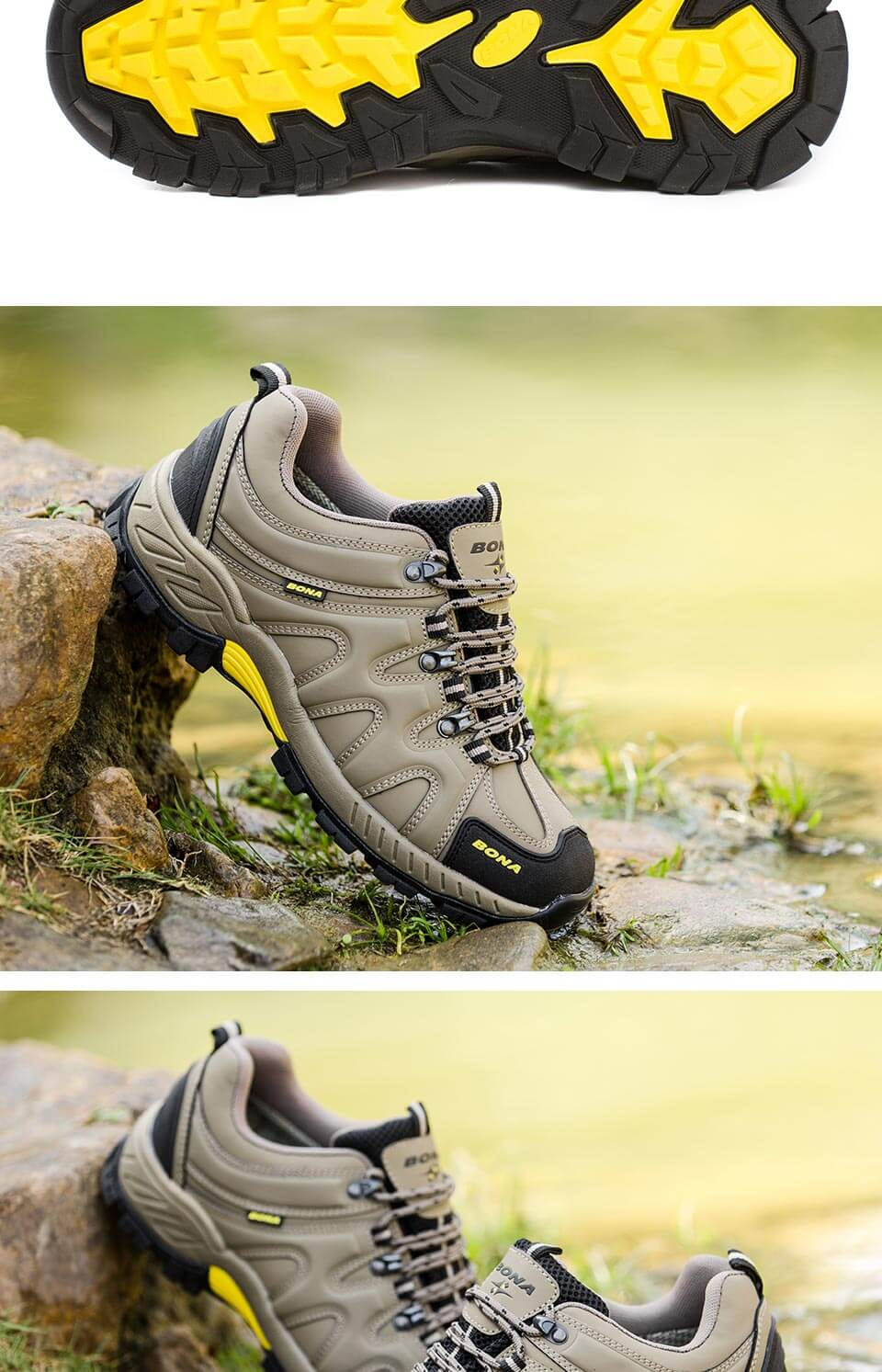Фото BONA New Arrival Classics Style Men Hiking Shoes Lace Up Men Sport Shoes Outdoor Jogging Trekking Sneakers Fast Free Shipping