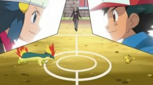 Un combat enflammé entre Feurisson et Pikachu