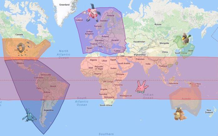 Mappa dei Pokémon regionali