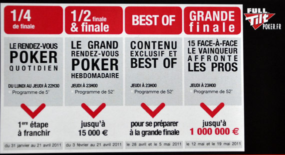 grille programme Heads up poker le face à face