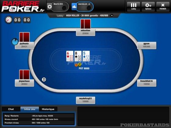 Exemple d'une table de poker plein ecran sur l'appli iPad de barrierepoker.fr