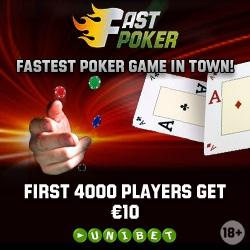 Unibet Fast Poker: EUR 10 Gratis Poker Penge Bonus!