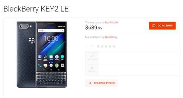 Blackberry Key 2 LE new phone AUD