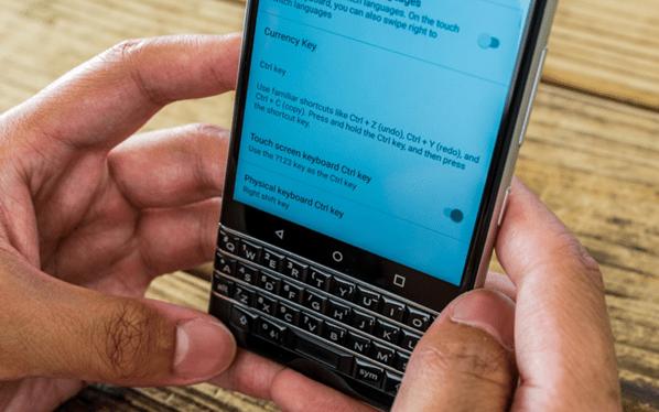 Blackberry Key 2 smartphone keyboard shortcuts