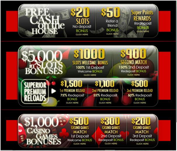 Superior casino- Bonuses