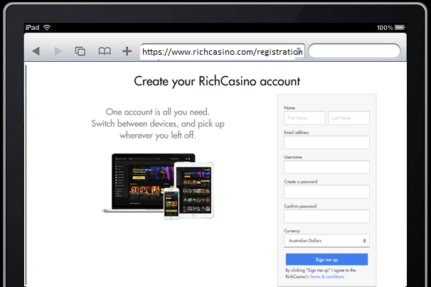Rich casino open account with iPad