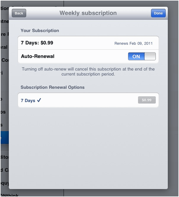 iTunes Weekly Subscription
