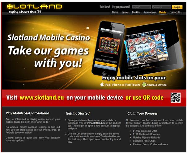Slotland casino for iPad