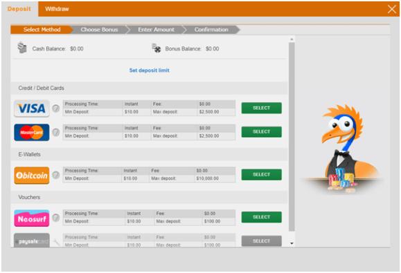 Emu Casino Deposits in AUD and BTC