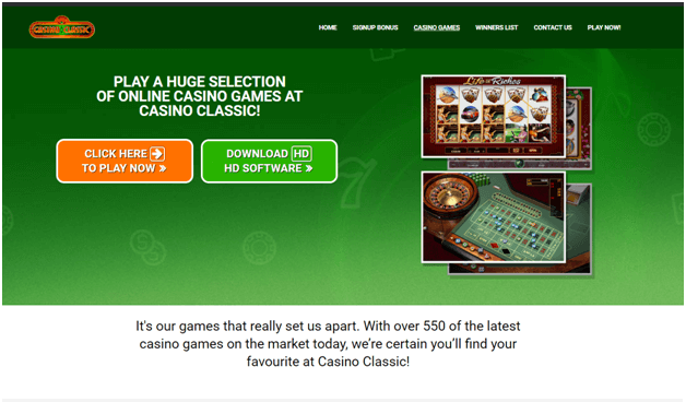 Pokies and casino games at Casino Classic