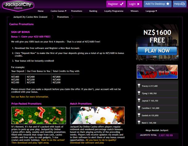 Jackpot City Casino NZD- Bonuses