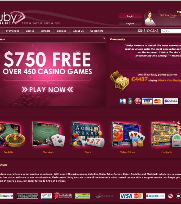 Ruby Fortune casino NZD