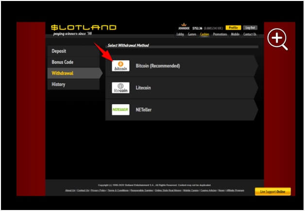 Bitcoin withdrawal at slotland casino