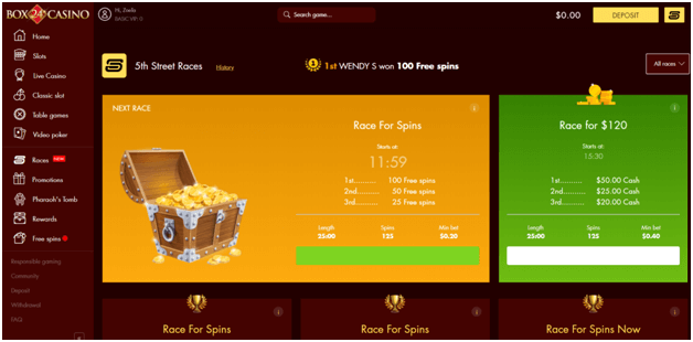 Box 24 online casino races