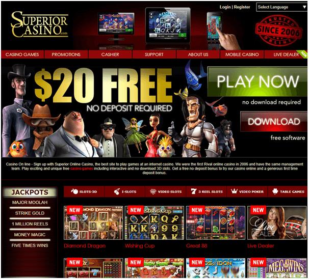 Superior Casino No deposit mobile casino