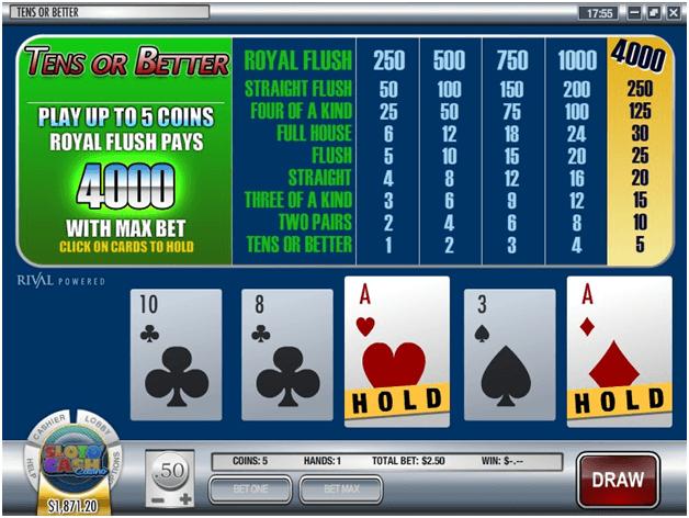 Tens or Better Multihand poker