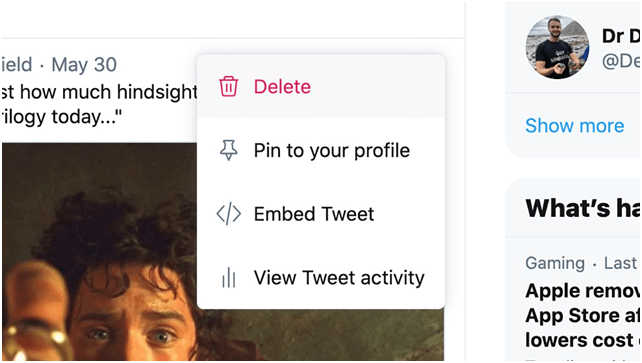 Delete your tweets within the settings of Twitter app