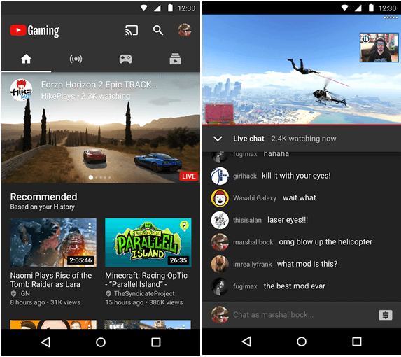 You Tube Gaming app