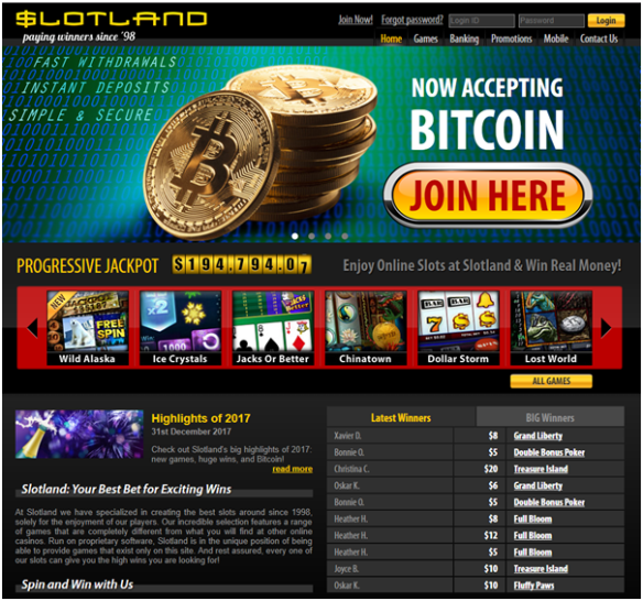 Slotland Casino pokies to play with Bitcoins