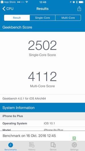 iPhone 6s - Benchmark 1 - Übersicht