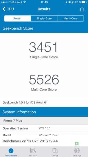 iPhone 7 - Benchmark 1 - Übersicht