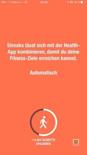 Hinweis auf die Kooperation mit Apple Health …