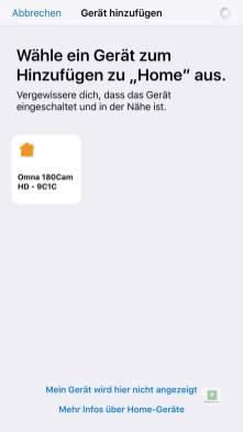 Konfiguration in Apple HomeKit