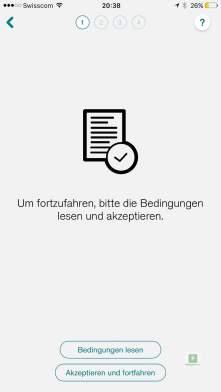 Das einrichten der App - Bedingungen akzeptieren