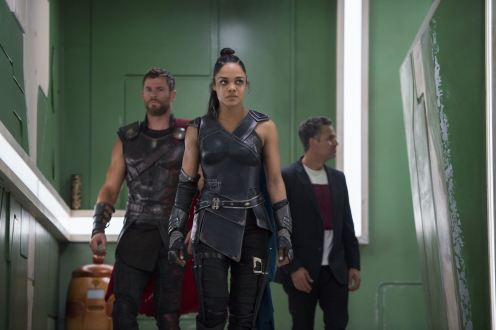 Thor - Chris Hemsworth, Valkyrie - Tessa Thompson, Bruce - Mark Ruffalo