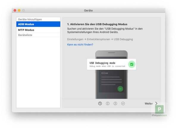 USB Debugging mode aktivieren
