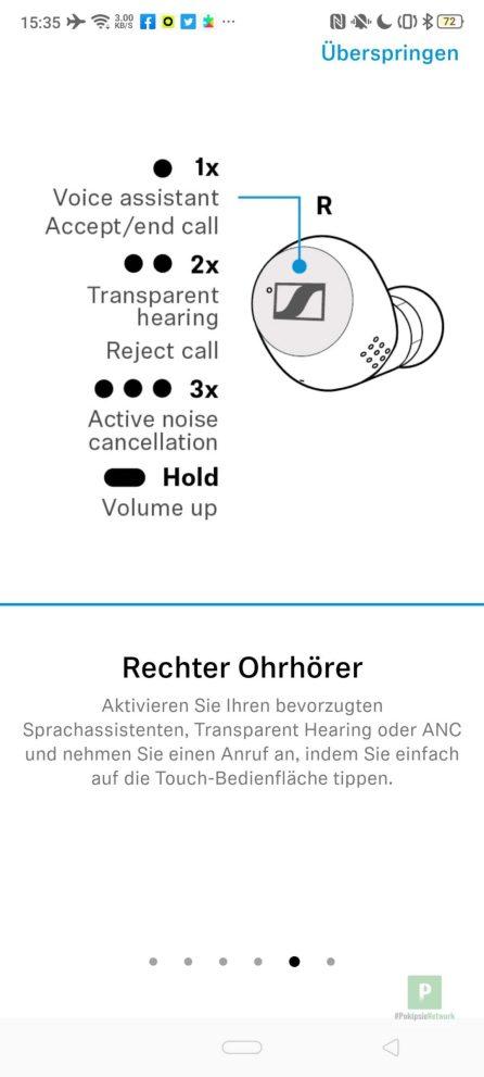 Bedienung am rechten Kopfhörer