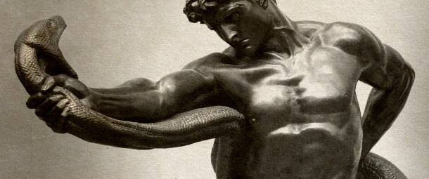 A monochromatic photograph, which is a detail of Lord Leighton
