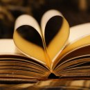 An image in brown tones of an open book with two pages folded into the centre to create the shape of a heart.