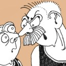 An image from a David Shenton cartoon that depicts two men wearing rubber tops have a heated discussion.