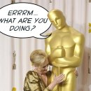 """A detail from a photographic image of Meryl Streep putting her hand on the genital area of a giant Oscar statuette. The statue does not look amused and looks down at Meryl Streep and exclaims, """"Errrm.... What are you doing?"""""""