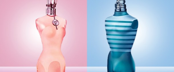 An image of two scents by Jean Paul Guatier, featuring a masculine bottle of perfume and a feminine one on blue and pink backgrounds respectively.