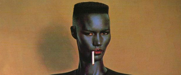 A detail of the cover art of Grace Jones