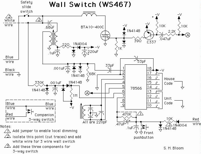 Schematic of WS467 Wall Switch