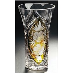 Polish Art Center Polish Amber Crystal Vase Floral
