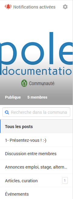 categories et notifications -  gplus poledoc