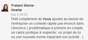 commentaire - marie noelle fratani