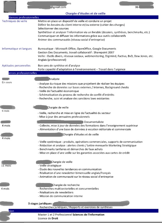 exemple cv chargé d affaire Analyse de CV