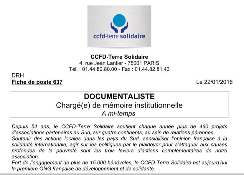 emploi 75 documentaliste h  f ccfd terre solidaire