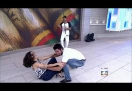 Fátima Bernardes joga Capoeira e leva tombo ao vivo no 'Encontro' – VEJA VÍDEO