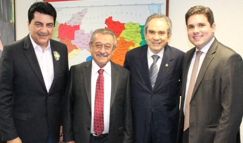 Lyra - Hugo Motta se reune com os senadores Maranhão e Lira e pede apoio para ganhar a liderança do PMDB