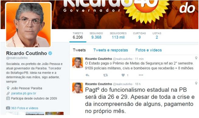 post ricardo - No twitter: governador anuncia mais de R$ 8 mi para pagamento de Prêmio de Metas para Segurança Pública